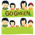 Go green family illustration of a holding a banner Royalty Free Stock Photos