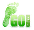 Go green footprint sign illustration design Royalty Free Stock Photo