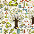 Go Green icons seamless pattern Stock Photography