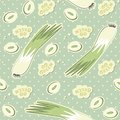 Go green retro whole leeks and slices on polka dot dots with blue background seamless pattern Stock Photos