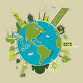 Go green world industry sustainable development with environmental conservation background illustration vector file layered for Royalty Free Stock Image