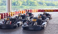 Go karts two rows af waiting for a race Royalty Free Stock Images