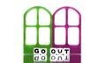 Go out text message with frames colored door Royalty Free Stock Photography