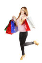 Go shopping happy woman and a lot of bags Stock Images