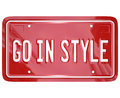 Go in style vanity license plate car automobile vehicle a red for a or other with the words to illustrate fashionable or trendy Stock Photo