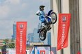 Go to fly russia moscow july motofristayler anton smirnov at the sports festival moscow city games in the program moto freestyle Stock Photography