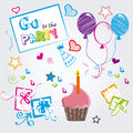 Go to the party over dotted background vector illustration Royalty Free Stock Photos
