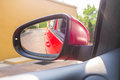 Go for vacation rear view mirror of car in daylight trip Stock Photo