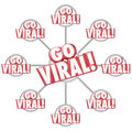 Go viral spreading internet marketing message d words grid red on a of connected messages or communication to illustrate or Royalty Free Stock Photography