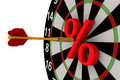 The goal beneficial interest goal achieved dart and red percent symbol at center of board for darts isolated on white background Stock Photo