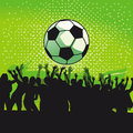 Goal celebration football illustration with a soccer ball and cheering crowd Stock Photography