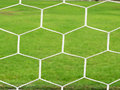 Goal football with green grass Royalty Free Stock Photo