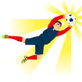 Goal keeper catching ball young professional jumping the with flash effect Royalty Free Stock Photos