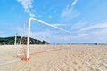 Goal post on the beach image of Royalty Free Stock Photo