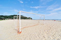 Goal post on the beach image of Stock Photos