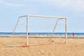 Goal post on the beach image of Stock Photo