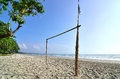 Goal post at the beach in morning Royalty Free Stock Image