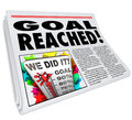 Goal Reached Newspaper Headline Article 100 Percent Success Royalty Free Stock Photo