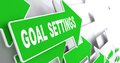 Goal settings on green direction arrow sign a grey background Royalty Free Stock Photography