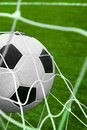 Goal. Soccer ball in a net. Royalty Free Stock Images