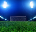 Goal stadium lights at night and the Royalty Free Stock Photography