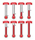 Goal thermometers at different levels. vector