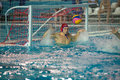 Goalie Evgeniy Kostrov 1 in action Royalty Free Stock Photo