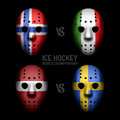Goalie masks with flags ice hockey world championship Stock Photos