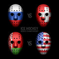 Goalie masks with flags illustration Royalty Free Stock Photography