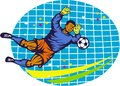 Goalie soccer football player retro illustration of a goal keeper saving ball with net done in style Royalty Free Stock Image