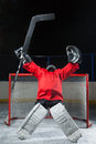 Goalie standing elated with arms raised up above his head hockey goalkeeper her Royalty Free Stock Photos