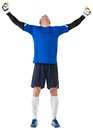 Goalkeeper celebrating a win on white background Royalty Free Stock Photos