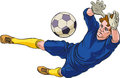 Goalkeeper diving is catching a ball low editable vector illustration Royalty Free Stock Image