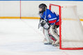Goalkeeper is on the gate moscow apr closing ceremony of championship season of ice hockey for sports school junior teams Royalty Free Stock Photos