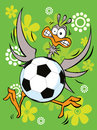 Goalkeeper - ostrich play football Royalty Free Stock Image