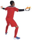 Goalkeeper in red ready to save on white background Stock Images