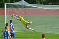 Goalkeeper saves the goal moscow russia july stefan cupic in match ofk serbia malaga spain during lev yashin vtb cup u Stock Photo