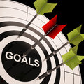 Goals on dartboard shows aspired objectives and desired targets Stock Images