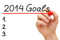 Goals hand underlining with red marker isolated on white Royalty Free Stock Photography