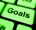 Goals keyboard shows aims objectives or aspirations showing Stock Image