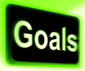 Goals sign shows aims objectives or aspirations showing Stock Image