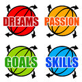 Goals and skills Stock Images