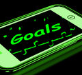Goals On Smartphone Shows Targets And Objectives Stock Photo