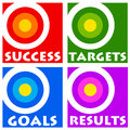 Goals and targets colorful icons for results success in life career Royalty Free Stock Image