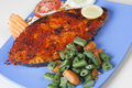 Goan pomfret fry a dish from goa in western india made of fish and spices Stock Photo