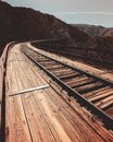 Goat Canyon Trestle old train bridge in San Diego, California, USA. This wooden bridge spans a long canyon but the rail system has Royalty Free Stock Photo