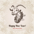 Goat chinese new year handdrawn engraving style template symbol hand drawn for postcard poster banner pen and pencil crosshatch Royalty Free Stock Image