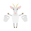 Goat with milk illustration of a on a white background Royalty Free Stock Images