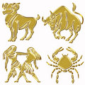 Goat, taurus, twins and cancer horoscope symbols Stock Image