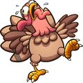 Crazy cartoon turkey gobbling with tongue out
